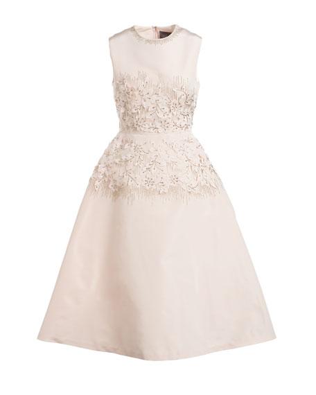 Embroidered Jewel-Neck Dress