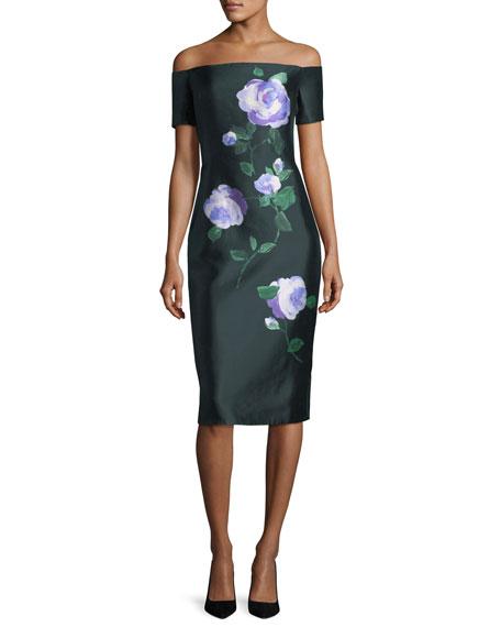 Floral Off-Shoulder Mikado Dress