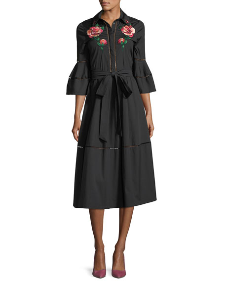 Lela Rose Rose-Embroidered A-Line Shirtdress