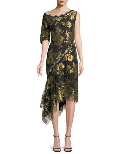 Asymmetric Metallic Jacquard Midi Cocktail Dress w/ Handkerchief Hem