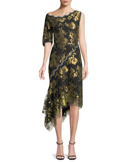 Peter Pilotto Asymmetric Metallic Jacquard Midi Cocktail Dress