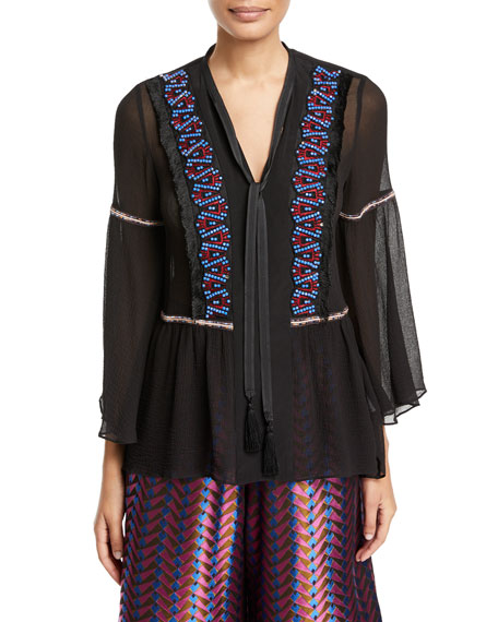 Etro Split-Neck Georgette Peasant Blouse w/ Beaded Trim