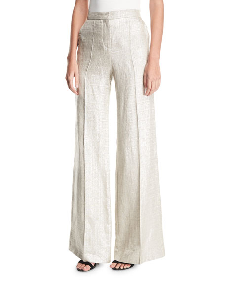 Etro Wide-Leg Metallic Silk/Linen Pants and Matching Items