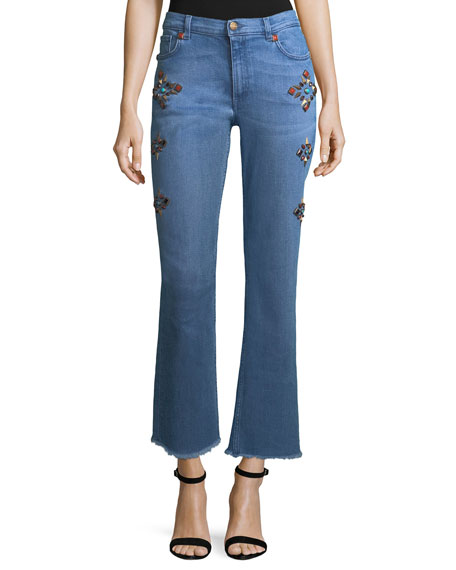 Etro High-Rise Straight-Leg Jeans w/ Studs and Matching