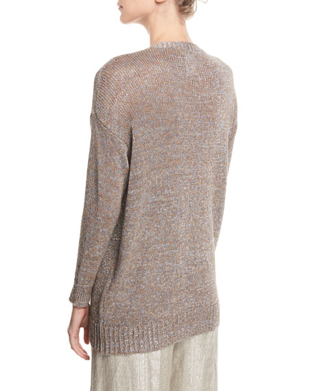 Metallic V-Neck Open-Weave Beach Sweater Tunic