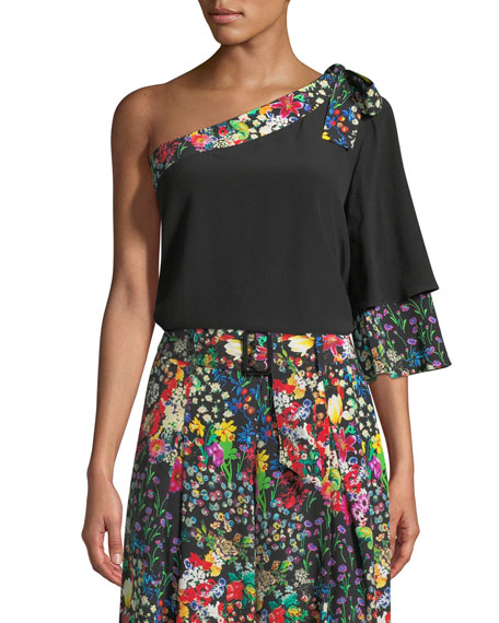 Etro Floral-Trim One-Shoulder Top and Matching Items