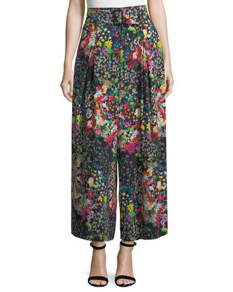 Etro Cropped Wide-Leg Floral Trousers