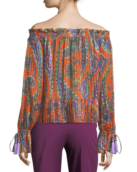Paisley Off-the-Shoulder Peasant Top
