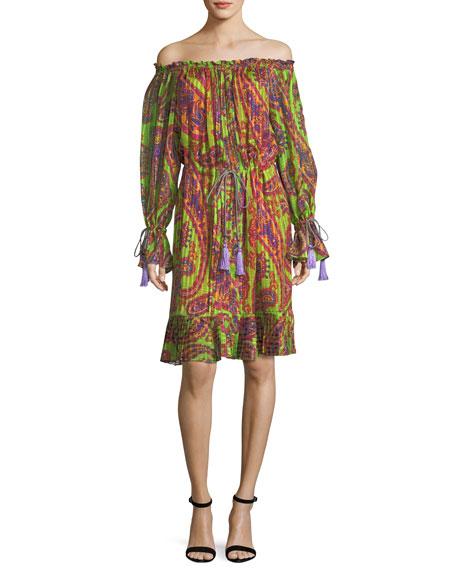 Etro Neon Psychedelic-Print Dress w/ Tassels