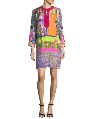 Neon Psychedelic-Print Shift Dress