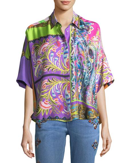 Floral Paisley Silk Dolman Shirt