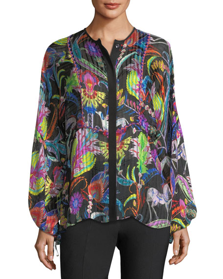 Etro Psychedelic Striped Silk Shirt