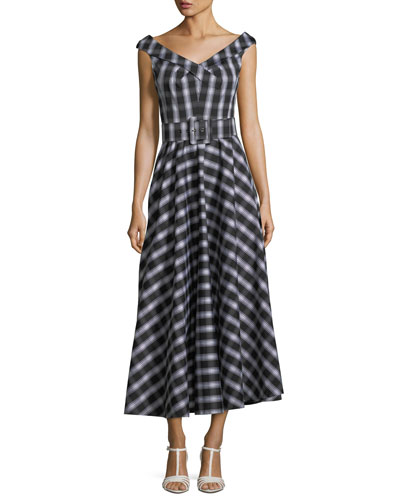 Madras Check-Print Stretch Cotton Poplin Midi Dress