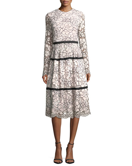 Lela Rose Long-Sleeve Tiered Lace Midi Dress