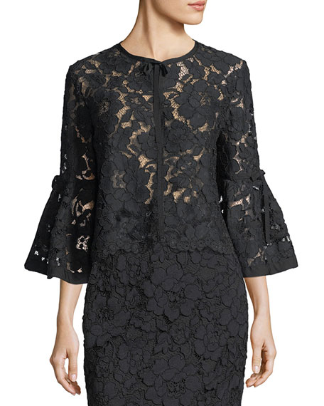 Lela Rose Flounce-Sleeve Bolero Jacket and Matching Items