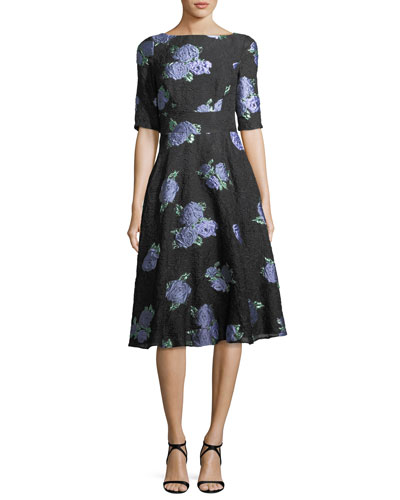 Floral-Embroidered Matelasse Dress