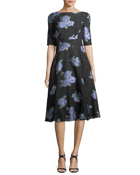 Lela Rose Floral-Embroidered Matelasse Dress