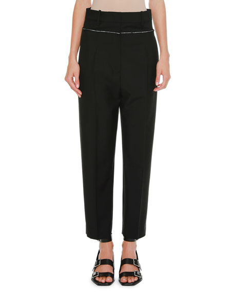 High-Waist Straight-Leg Cropped Wool Pants