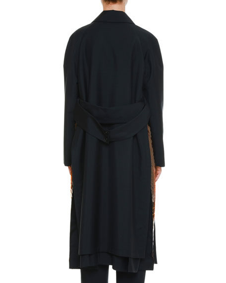 Jil Sander Single-Button Wool-Mohair Coat with Paillette Side Insets