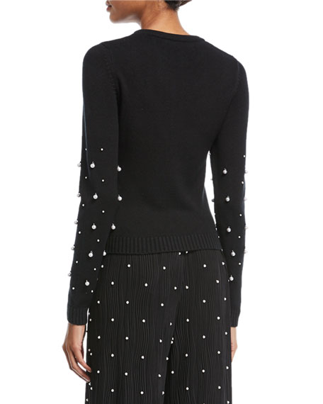 Bateau-Neck Long-Sleeve Pintucked Dress with Pearlescent Beads