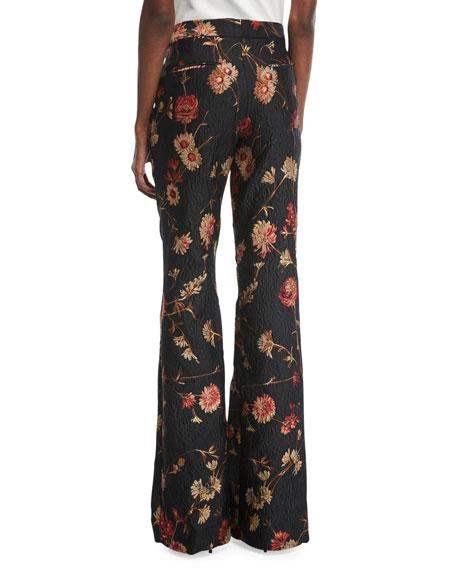 Mid-Rise Floral-Jacquard Bootcut-Leg Pants