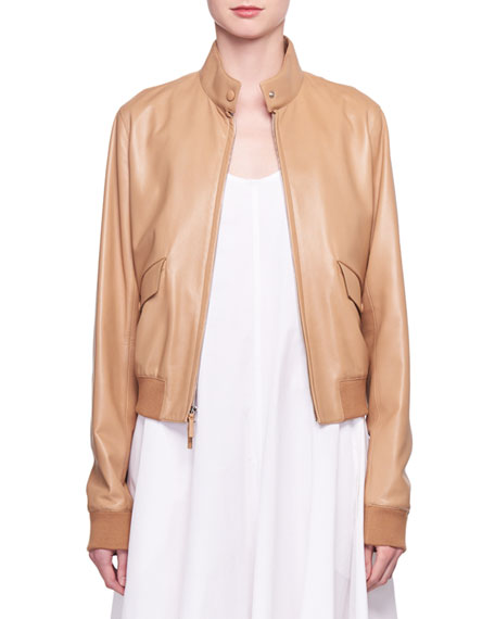 Erhly Zip-Front Leather Bomber Jacket