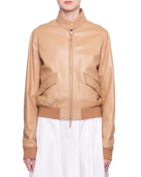 Erhly Zip-Front Leather Bomber Jacket in Sand