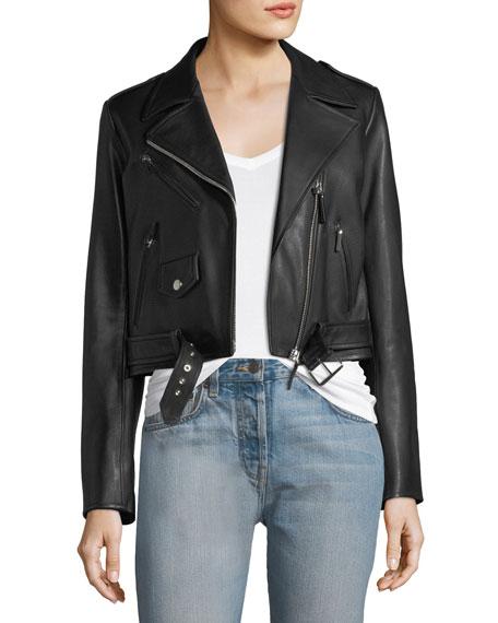 Perlin Zip-Front Leather Moto Jacket