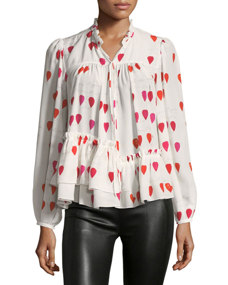 High-Neck Button-Front Petal-Print Silk Blouse