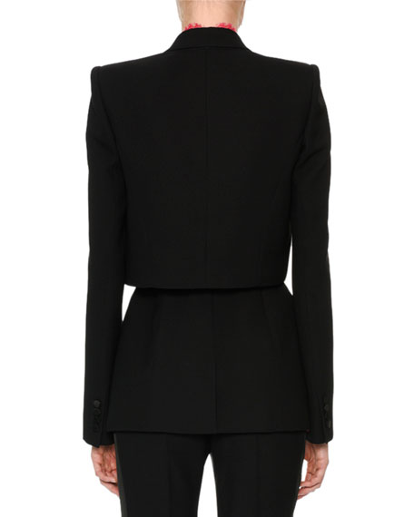 Long-Sleeve Wool-Silk Cocktail Jacket with Lace Inset