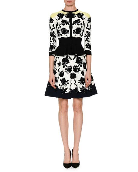 Rose-Jacquard Peplum Cardigan Sweater