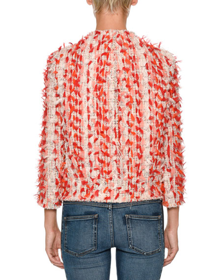 Alexander McQueen Jewel-Neck Painterly Tweed Jacket with 3-D Ribbon Trim
