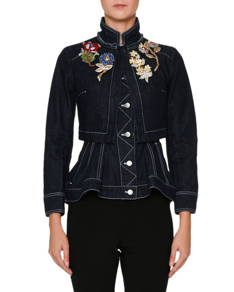 Embroidered-Shoulder Button-Front Layered Denim Jacket