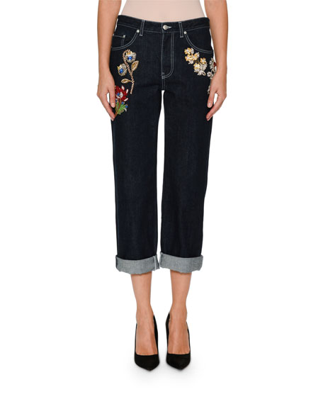Wide-Leg Cropped Jeans with Jeweled Trim