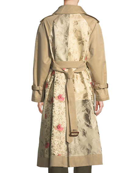 Double-Breasted Brocade Patched Long Trench Coat