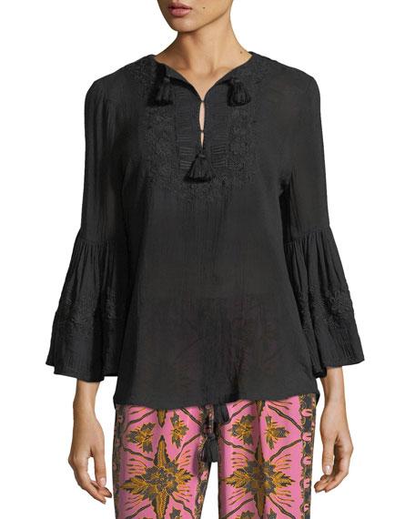Figue Batik-Print Straight-Leg Cropped Crepe de Chine Pants