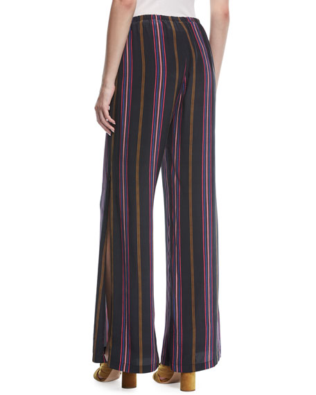 Image 2 of 3: Figue Simone Ashbury Stripe Wide-Leg Silk Pants