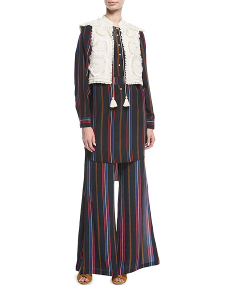 Image 3 of 3: Figue Simone Ashbury Stripe Wide-Leg Silk Pants