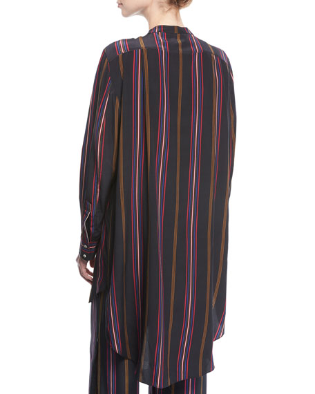 Thalie Ashbury-Stripe Long-Sleeve High-Low Tunic