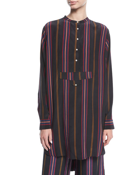 Figue Thalie Ashbury-Stripe Long-Sleeve High-Low Tunic