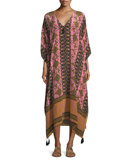 Figue Eliza V-Neck Gypsy Batik-Print Kaftan Coverup