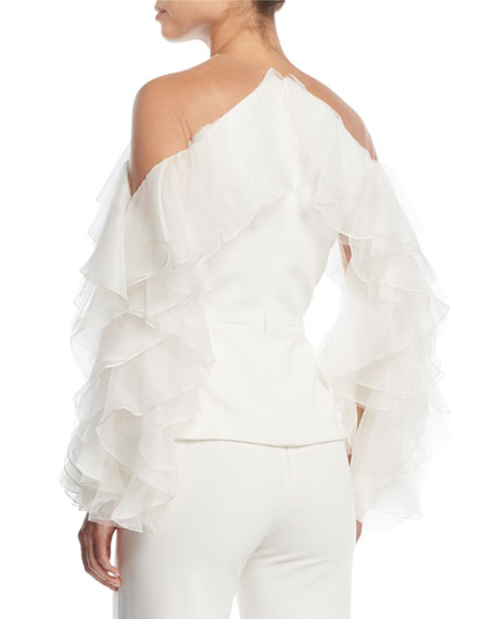 Off-the-Shoulder Crepe Top with Organza & Tulle Ruffles