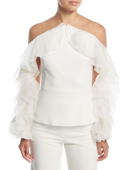 Marchesa Off-the-Shoulder Crepe Top with Organza & Tulle