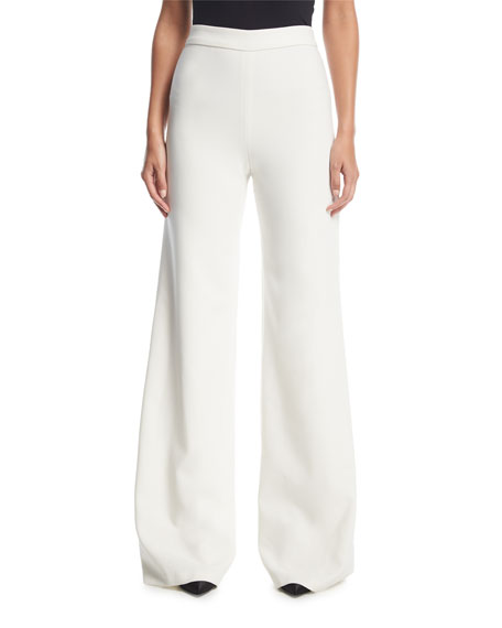 Marchesa Wide-Leg Flat-Front Stretch-Crepe Pants