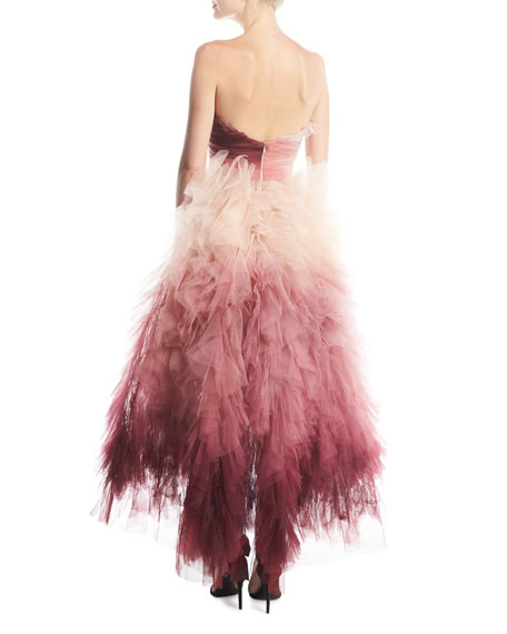 Strapless Ombré Ruffled High-Low Midi Cocktail Dress