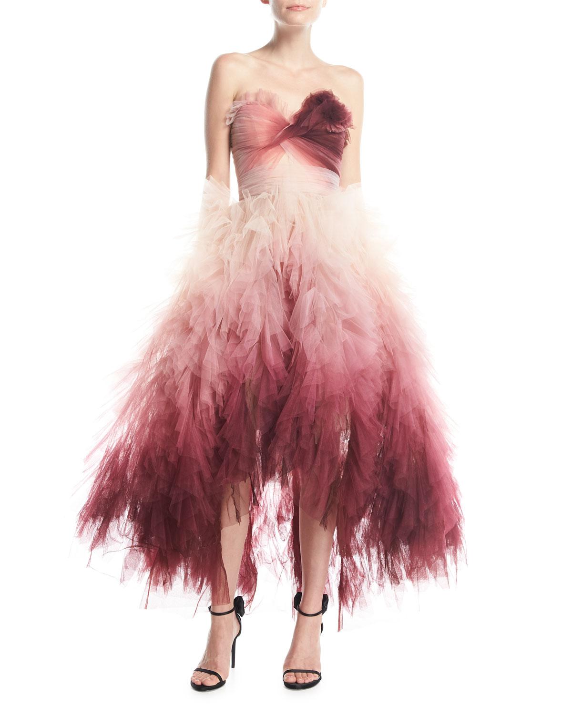 14b929c7560 Marchesa Strapless Ombré Ruffled High-Low Midi Cocktail Dress ...
