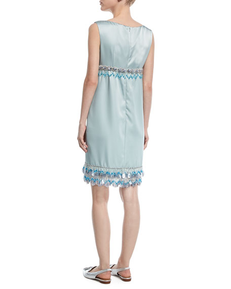 Sleeveless Beaded Duchess Satin Cocktail Dress