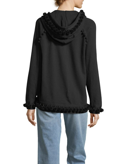 Pompom Zip-Front Sweatshirt
