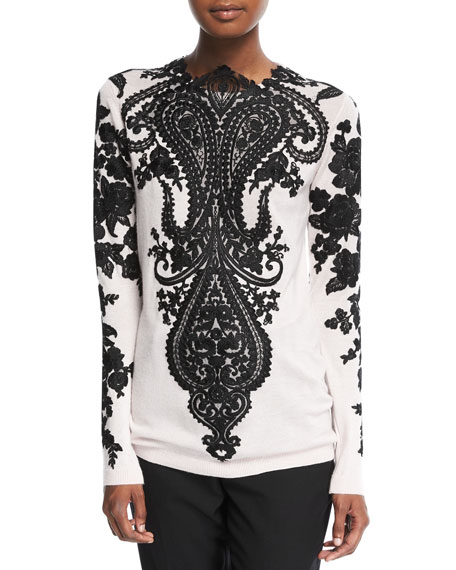 Naeem Khan Long-Sleeve Embroidered-Lace Cashmere Sweater