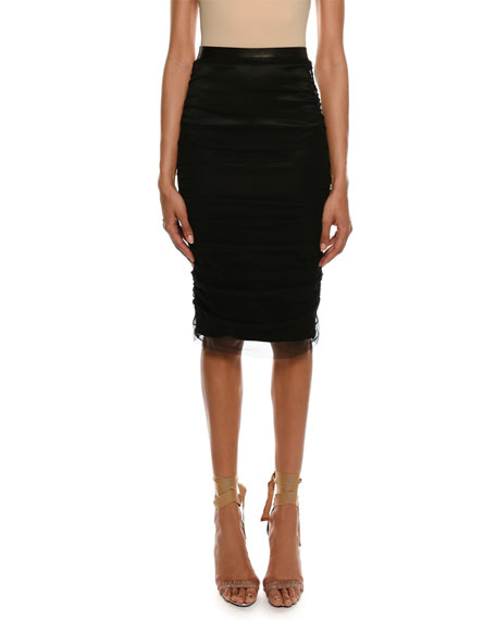 Satin Pencil Skirt with Shirred Tulle Overlay